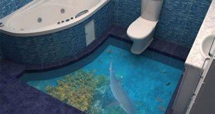 ارضيات حمامات ثرى دى , اشيك واجدد ارضيات للتواليت مجسمة