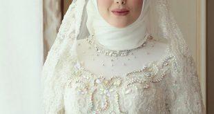 صور عرايس محجبات , موديلات فستان زفاف محجبات