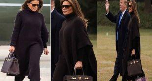 صور ميلانيا ترامب تبرز تميزها بكاب لونه بني داكن رائع