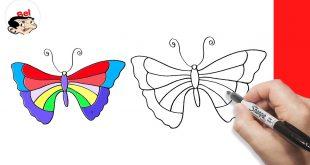 رسم فراشة للاطفال , تعليم رسمه الفراشه للمبتدئين والاطفال