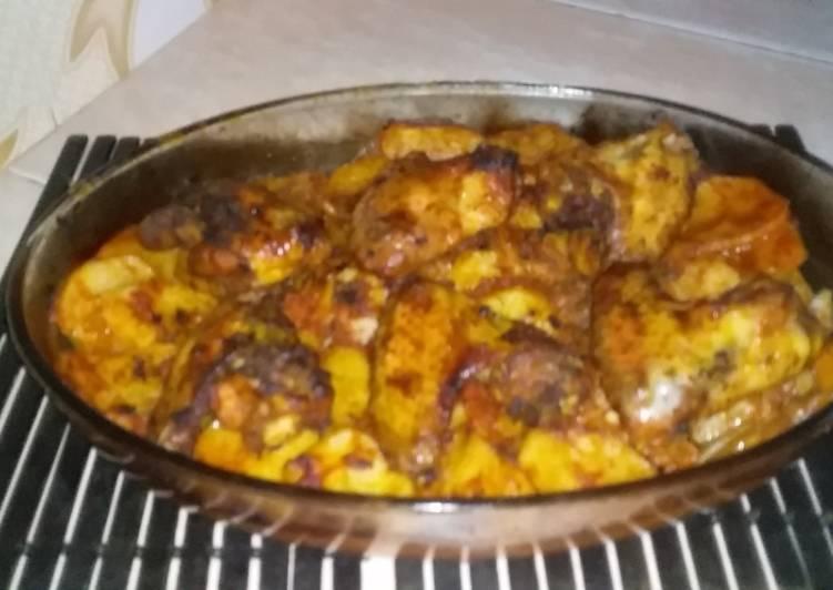 صورة بطاطا كوشة بالدجاج في الفرن , بالتتبيلة السحرية الذ واطيب اكلة 8472 1
