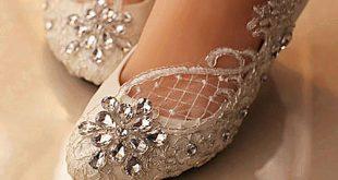 احذية عرائس بدون كعب , احدث واروع اشكال احذية العروس