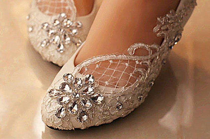 صورة احذية عرائس بدون كعب , احدث واروع اشكال احذية العروس