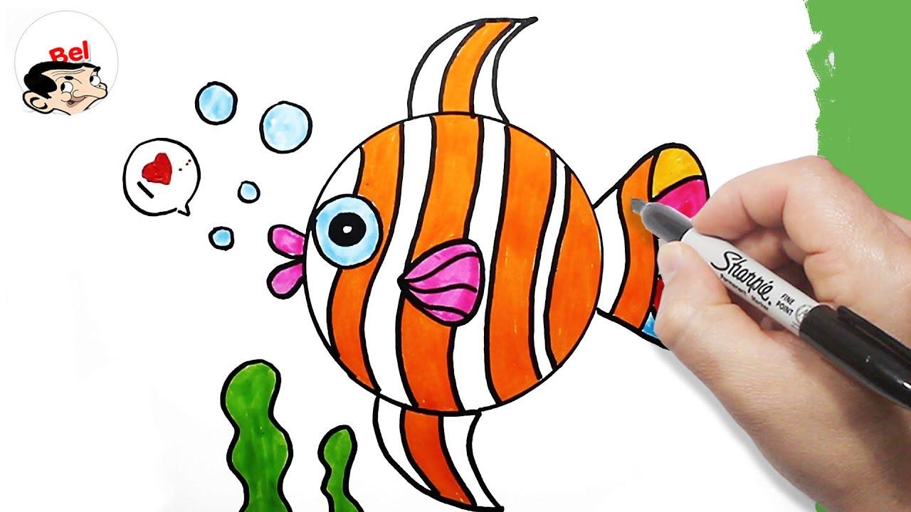 صورة تعليم رسم سمكه , كيفية رسم السمكة